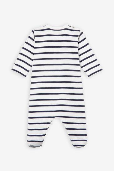 Petit Bateau Navy Stripe Iconic Rib Sleepsuit