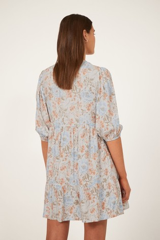 Warehouse Ornate Vines Tiered Mini Dress