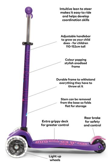 Micro Scooter Maxi Deluxe LED Purple Scooter 5-12 Years
