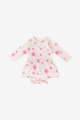 Noé & Zoë Neon Pink Stars Body Vest With Skirt