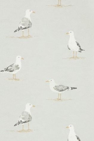 Sanderson Home Grey Shore Birds Wallpaper