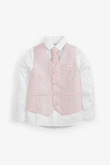 Pink Wedding Waistcoat, Shirt And Tie Set (12mths-16yrs)