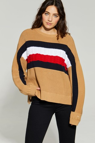 Tommy Hilfiger Camel Icon Global Stripe Sweater