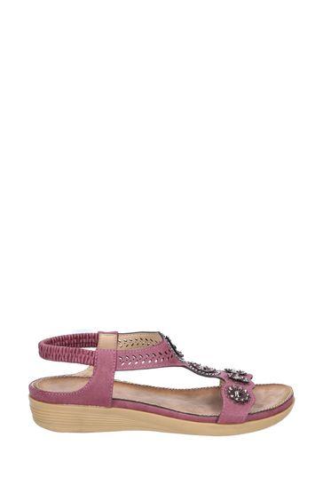 Fleet & Foster Purple Caper Elastic T-Bar Sandals