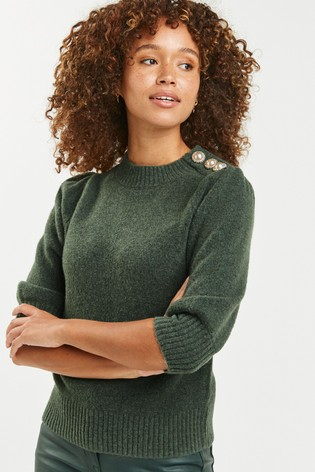 Khaki Short Volume Sleeve Jumper