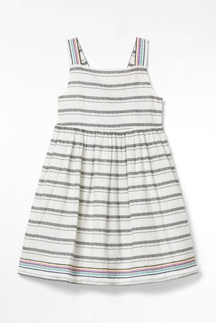 White Stuff White Kids Stripy Summer Woven Dress