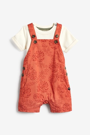 Baker by Ted Baker Printed Dungaree And Bodysuit Set