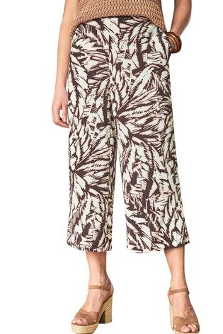 Pure Collection Brown Printed Cropped Palazzo Trousers