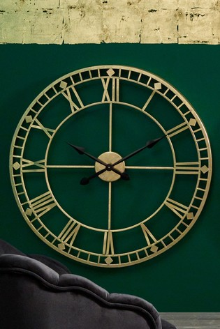Antique Gold Metal Round Wall Clock by Pacific