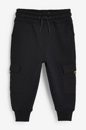 Black Joggers Jersey Woven Pocket (3mths-7yrs)