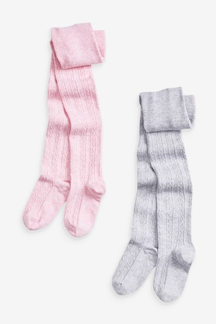 Pink/Grey 2 Pack Cable Tights