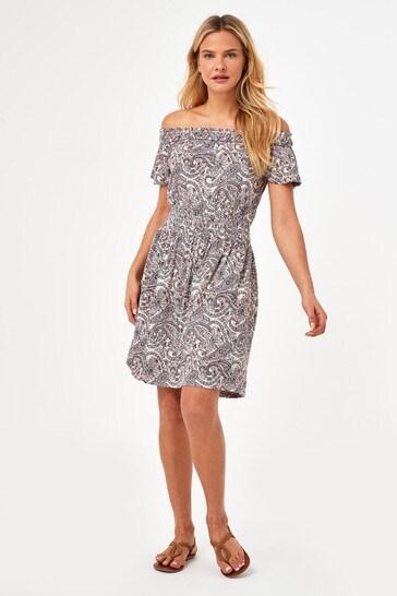 Cream Paisley Shirred Bardot Dress