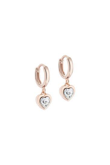 Ted Baker Pink Hanniy: Crystal Heart Huggie Earrings
