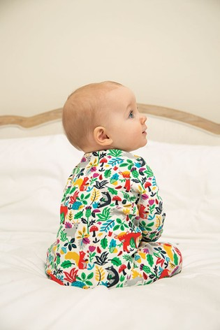 Frugi White Organic Cotton Zipped Babygrow