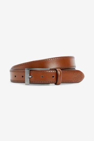Tan Signature Italian Leather Brogue Detail Belt