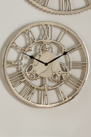 Shiny Nickel Cog Design Small Round Wall Clock by Pacific
