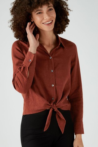 Pure Collection Red Linen Tie Hem Shirt