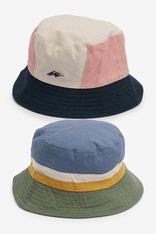 Multi Colour Block 2 Pack Bucket Hats (3mths-10yrs)