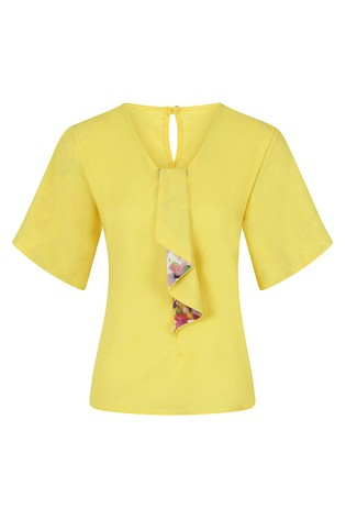 HotSquash Yellow River Tie Bat Sleeved Top