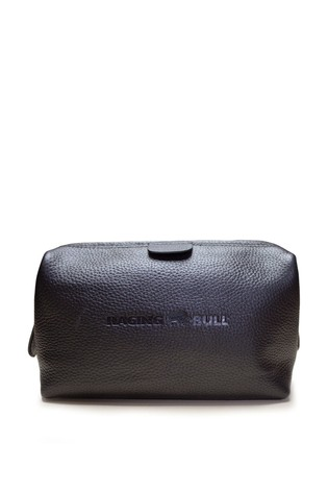 Raging Bull Black Leather Wash Bag