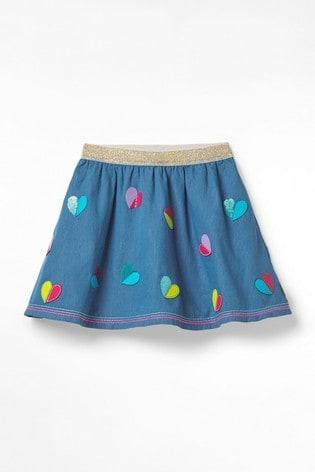 White Stuff Blue Kids Chambray Sequin Heart Skirt