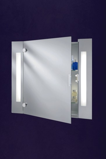 Whisper 2 Light Illuminated Mirror Glass Cabinet With Shaver Socket by Searchlight