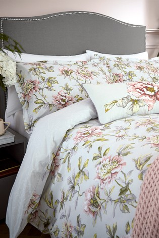 V&A Peony Blossom Duvet Cover and Pillowcase Set