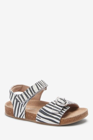 Monochrome Leather Standard Fit (F) Buckle Sandals (Younger)