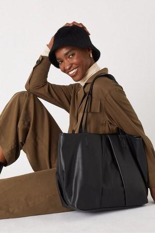 Accessorize Black Savannah Pleated Slouch Shopper Bag