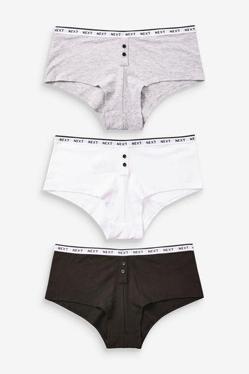 Monochrome Logo Boy Short Knickers 3 Pack
