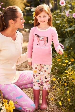 Hatley Pink Country Living Kids Appliqué Pyjama Set