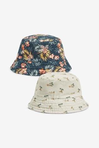 Navy Floral Reversible Bucket Hat
