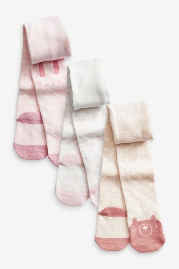 Pale Pink 3 Pack Tights (0mths-2yrs)