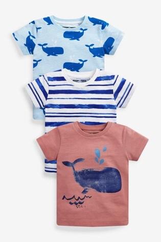Stripe Whale 3 Pack T-Shirts (3mths-7yrs)