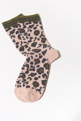 Mint Velvet Pink Patterned Glitter Socks