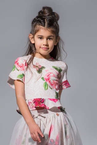 Angel & Rocket Pink Frill Sleeve Floral Top