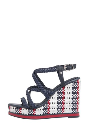 Tommy Hilfiger Blue Interwoven Braid High Wedges