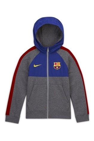 Nike Grey FC Barcelona Zip Through Hoody