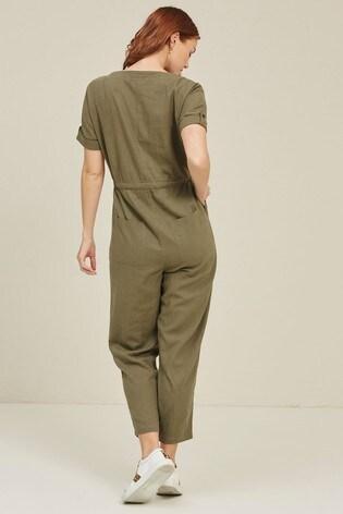 FatFace Green Rhio Linen Blend Jumpsuit