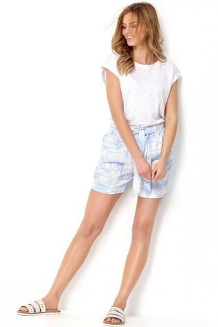 M&Co Blue Palm Print Linen Shorts