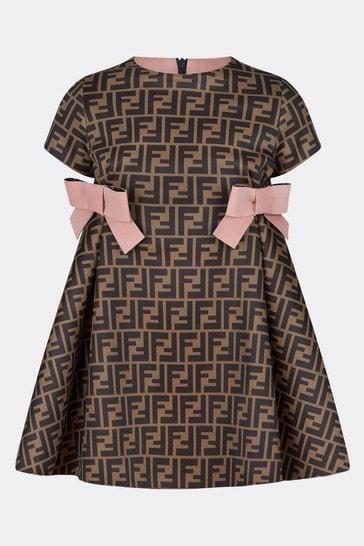 Girls Brown/Pink Neoprene Logo Dress