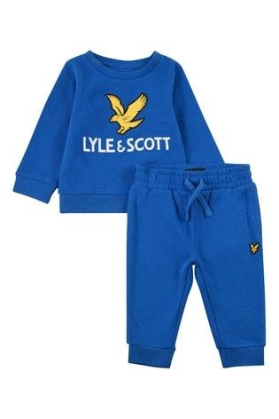 Lyle & Scott Blue Eagle Logo Crew And Jogger Set