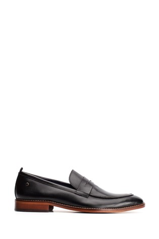 Base London® Black Lens Waxy Slip-On Loafers
