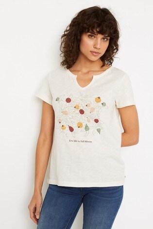 White Stuff Natural Daisy Jacquard Jersey T-Shirt