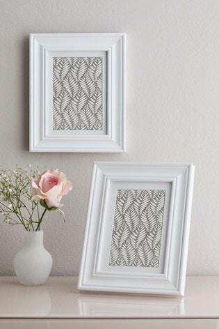 Set of 2 White Hampton Photo Frames