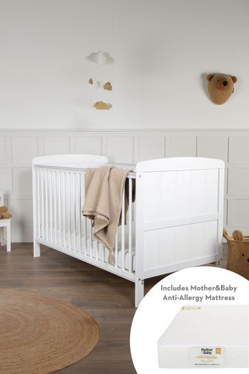 Juliet CotBed with Mother&Baby Rose Gold Sprung Mattress  White