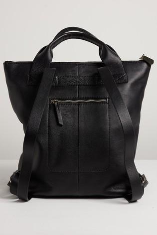 Oliver Bonas Black Immie Eyelet Leather Backpack