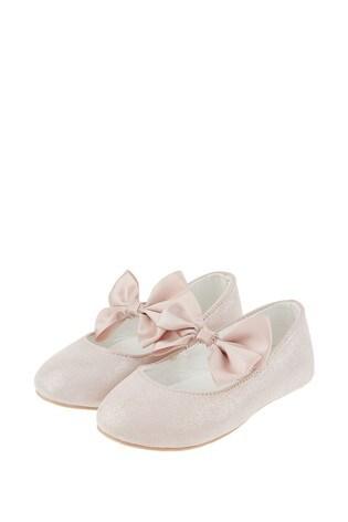 Monsoon Pink Baby Lottie Satin Bow Walker Shoes