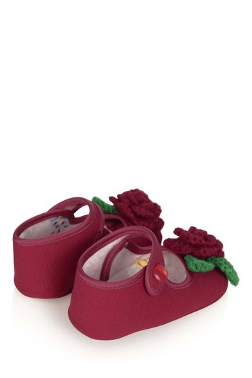 Baby Girls Red Flower Pre-Walker Shoes