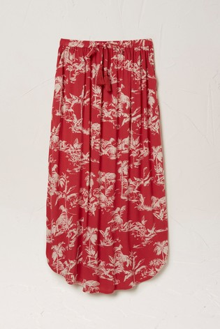 FatFace Red Sienna Flamingo Midi Skirt